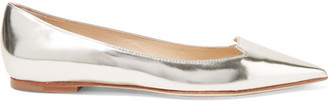 Jimmy Choo - Attila Mirrored-leather Point-toe Flats - Silver $650 thestylecure.com