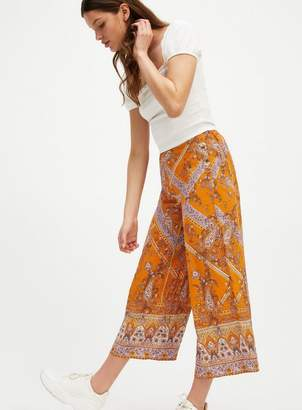 Miss Selfridge Tan Paisley Print Crop Wide Leg Trousers