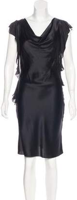 L'Agence Ruffle-Trimmed Knee-Length Dress