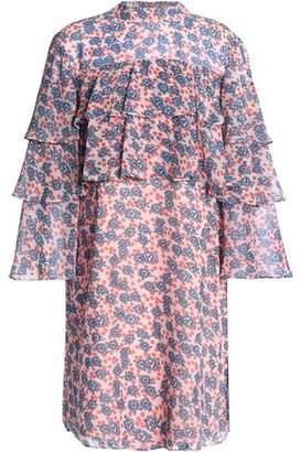 Rebecca Minkoff Tiered Floral-Print Crepe Mini Dress