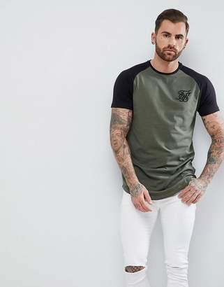 SikSilk Muscle Raglan T-Shirt In Khaki