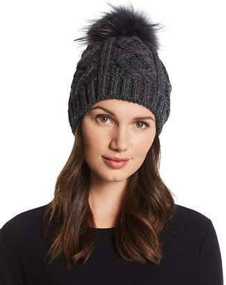 Echo Fur Pom-Pom Cable-Knit Beanie - 100% Exclusive