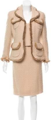Edward Achour Mink-Trimmed Wool Skirt Set