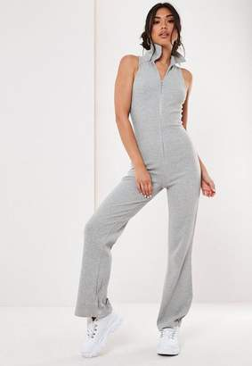 Missguided Gray Ribbed Flare Leg Romper