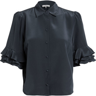 Frame Ruffled Sleeve Silk Blouse