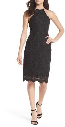 NSR Alba Halter Neck Lace Sheath Dress