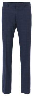 BOSS Hugo Plaid Wool Dress Pant, Slim Fit Genesis 30R Dark Blue
