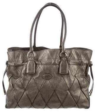 Tod's Metallic Leather Quilted Handle Bag