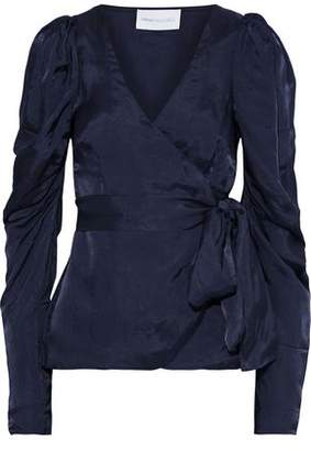 Alice McCall Blue Moon Satin-twill Wrap Blouse