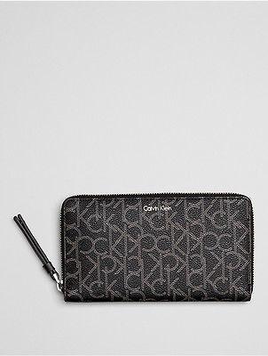 Calvin KleinCalvin Klein Womens Tina Monogram Zip Wallet Black Monogram