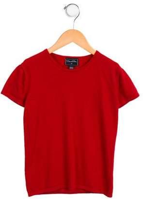Oscar de la Renta Girls' Wool Short Sleeve Sweater