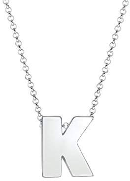 Elli Women's 925 Sterling Silver Plated Letter K Basic Minimal Pendant Necklace LoKBsyvtYM