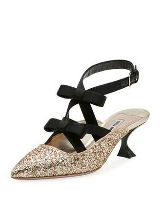 Miu Miu Glitter Bow Ankle-Wrap 55mm Mule