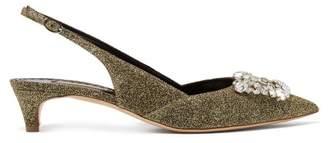 Rupert Sanderson Misty Crystal Embellished Pumps - Womens - Gold