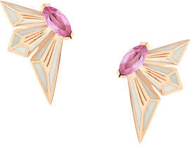 Stephen Webster Fly by Deco Drive 18k Pink Sapphire Stud Earrings