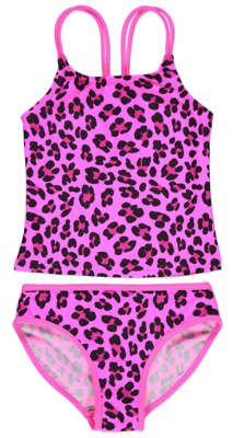 George Pink Leopard Print Tankini Set