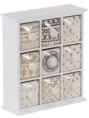 DecMode Decmode Modern 9-Drawer Wood And Ceramic Jewelry Storage Chest, White