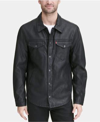 Levi's Men Faux Leather Shirt Jacket
