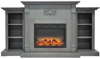 Cambridge Silversmiths Sanoma 72 Electric Fireplace,Gray,Built-in Bookshelves