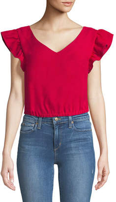 Club Monaco Visele V-Neck Ruffle Crop Top