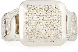 John Hardy Classic Chain Square Diamond Pavé Ring, Size 7