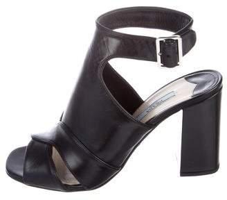 Prada Leather Cross-Strap Sandals