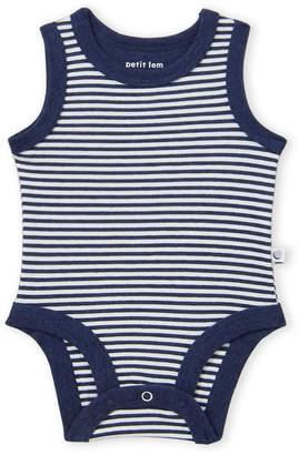 Petit Lem Newborn Boys) Navy Striped Tank Bodysuit
