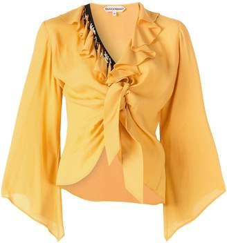 Giacobino ruffled tie knot blouse