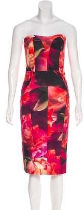 Nicole Miller Floral Strapless Dress