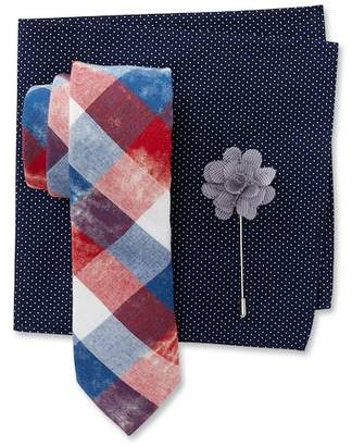 Original Penguin Verkerk Check Tie, Dot Pocket Square, & Micro Check Lapel Pin Box Set