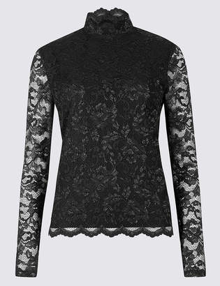 Marks and Spencer Lace Funnel Neck Long Sleeve Top