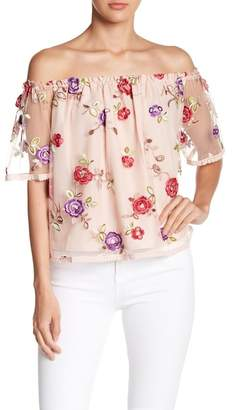 BB Dakota Floral Mesh Off-The-Shoulder Top