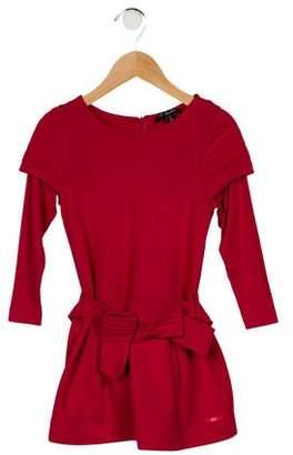 Lili Gaufrette Girls' Belted Long Sleeve Dress