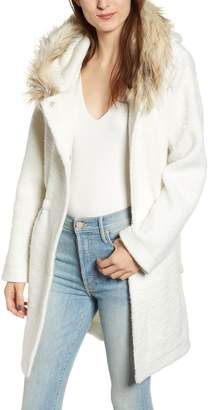 BB Dakota Coat On Ribbed Coat with Faux Fur Trim