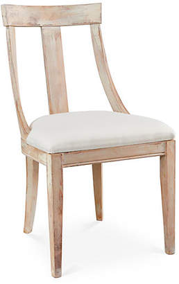 One Kings Lane Deco Side Chair - Off-White Linen