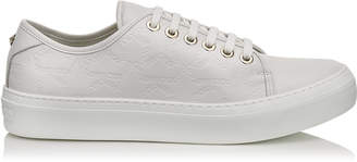 Jimmy Choo AIDEN White Leather Low Top Trainers with Embossed Star Logo