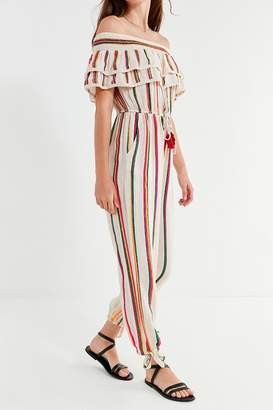 Cleobella Rainbow Ruffle Off-The-Shoulder Jumpsuit