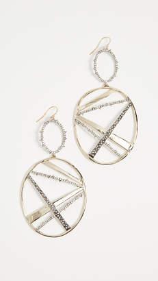 Alexis Bittar Crystal Plaid Oversize Dangling Earrings