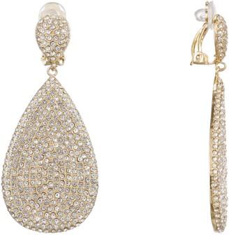 Nina Jewelry Teardrop Pave Disk Clip Earrings