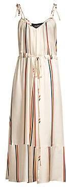 Paper London Women's Natalia Rainbow Stripe Silk Midi Dress