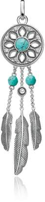 Thomas Sabo Blackened Sterling Silver Feather Pendant w/ White Cubic Zirconia and Turquoise
