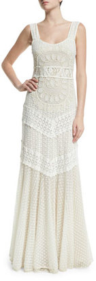 Alice + Olivia Kimberly Sleeveless Embroidered Maxi Dress, Cream $898 thestylecure.com