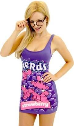 TV Store Nerds Candy Juniors Tunic Tank Dress with Nerd Glasses (Juniors Small, )