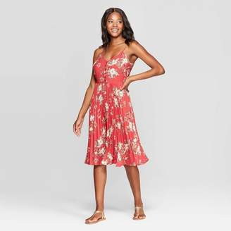 Xhilaration Women's Floral Print Sleeveless V-Neck Button Front Pleated Midi Dress Red
