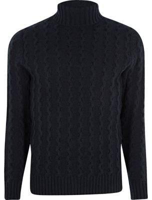 River Island Jack and Jones premium navy roll neck sweater