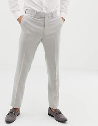 Asos DESIGN wedding skinny suit pants in ice gray wool mix texture