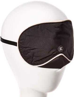 Chanel Black Satin Blindfold Sleep Mask