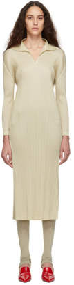 Pleats Please Issey Miyake Beige Polo Long Dress
