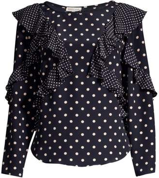 d5c31fbce64d96 Rebecca Taylor Long-Sleeve Ruffle Polka Dot Silk Blouse