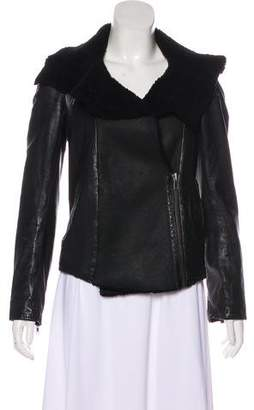 AllSaints Leather Shearling-Trim Jacket